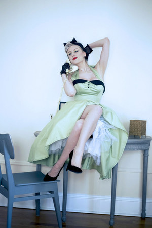 black silk vintage scarf - lime green halter Blue Velvet Vintage dress