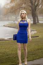 red lipstick Nars accessories - blue cobalt bodycon Charlotte Russe dress