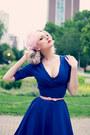 Blue-unique-vintage-dress-bubble-gum-vintage-box-1947-hat