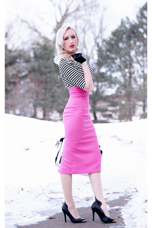 bubble gum pencil skirt Jensen skirt - black spikes Charlotte Russe shoes