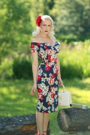 navy floral The Pretty Dress Company dress - red old heels