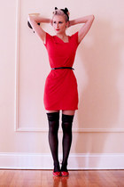 ruby red casual OASAP dress - ruby red hearts le bunny bleu flats
