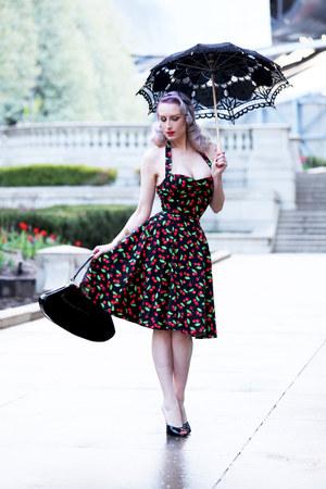 black cherry print Heart of Haute dress - black unique vintage bag