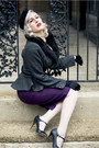 Purple-stop-staring-dress-black-veil-vintage-hat