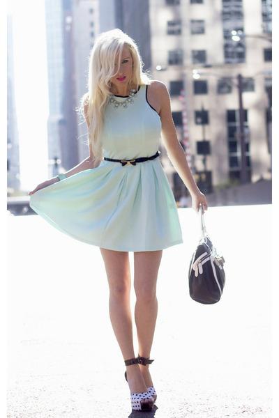 black Lulus heels - aquamarine Lulus dress - black bow skinny Lulus belt