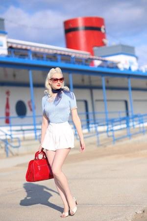 sky blue unique vintage sweater - white unique vintage shorts