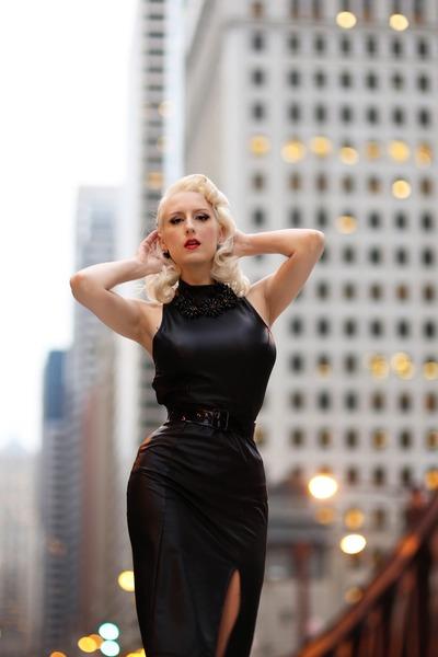 Black-faux-leather-unique-vintage-dress-black-statement-kate-spade-necklace