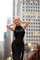 black faux leather unique vintage dress - black statement kate spade necklace
