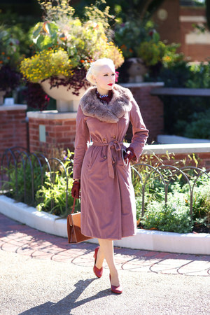 pink Lady Jane Vintage coat - dark brown Lady Jane Vintage bag