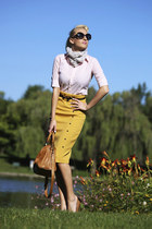mustard pencil vintage Lulus skirt - bubble gum button down Ralph Lauren shirt