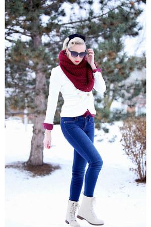 white white blazer furor moda jacket - beige quilted Charlotte Russe boots