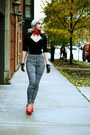 Red-fall-vintage-scarf-black-houndstooth-shop-roxx-pants