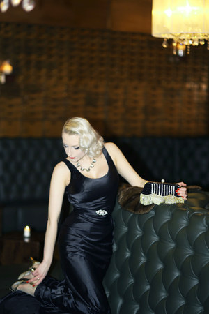 black satin unique vintage dress