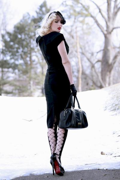 black patent leather OASAP shoes - black pencil bettie page dress