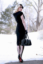 black patent leather OASAP shoes - black pencil bettie page dress