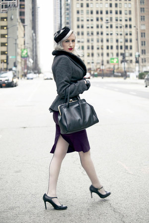 black peplum wool collectif jacket - purple Stop Staring dress