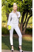 white Henry & Belle jeans - yellow spikes neon Lorraine Tyne bag