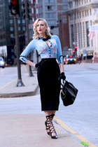 light blue cardigan Dita Von Teese sweater - black pencil skirt H&M skirt