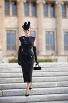 black bespoke Atelier Jensen dress - black bespoke Milli Starr hat