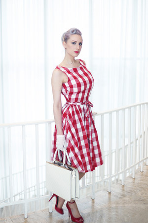 red gingham Pollypop dress - white quilted unique vintage dress - red old heels