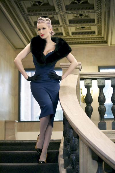 black satin vintage gloves - blue wool Tara Starlet dress