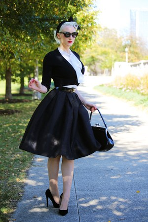 black cat eye Marilyn Eyewear sunglasses - white sheer unique vintage blouse