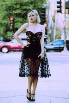 black veil Pinup Girl Clothing hat - black polka dot OASAP skirt