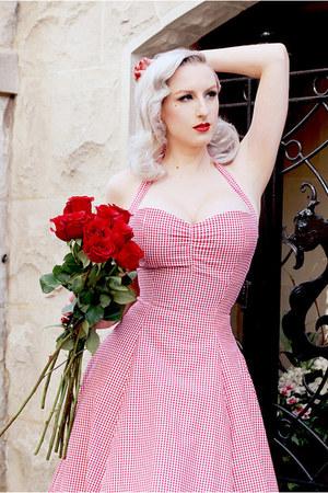red gingham Heart of Haute dress - white spring Heart of Haute sweater