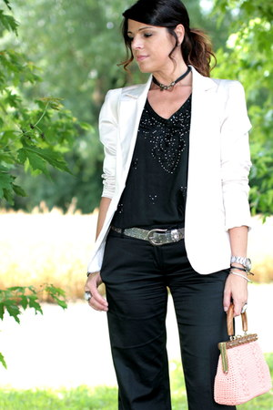 light pink vintage blazer - black ChiccaStyle shirt - light pink vintage bag - b