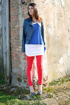 violet cinti shoes - blue leather vintage from Ebay jacket - blue Zara t-shirt -