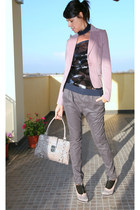 pink Classe A jacket - blue ChiccaStyle top - gray Sexy Woman pants - gray caf n