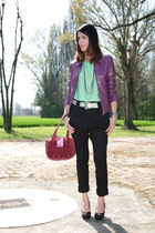 black xacarat shoes - amethyst leather vintage jacket - coral vintage bag - char