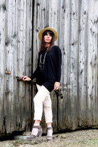 heather gray cinti shoes - peach H&M pants - black ChiccaStyle top