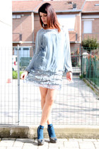 sky blue ChiccaStyle dress - blue Calzedonia socks - gray cinti sandals
