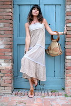 brown silk sandals - light brown ChiccaStyle dress - light brown vintage bag