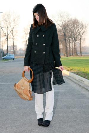 black suede platform xacart shoes - black silk ChiccaStyle dress - ivory skinny