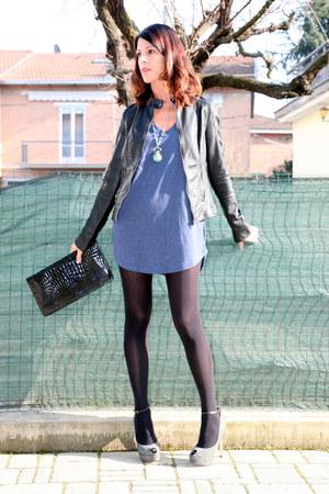 blue ChiccaStyle dress - black leather vintage jacket - black my moms clutch thr