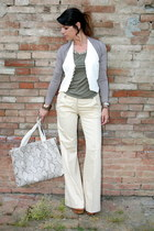 cream no brand bag - cream Patrizia Pepe pants - olive green ChiccaStyle t-shirt