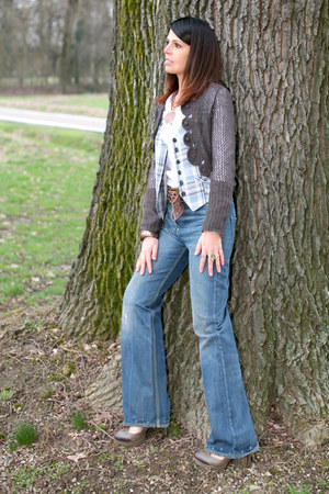 blue wide leg dondup jeans - white cotton ChiccaStyle shirt - dark brown wool Ch