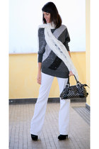 off white ChiccaStyle scarf - dark gray ChiccaStyle sweater - white dondup pants