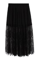 Black Chiffon and Semi-sheer Lace Panel Maxi Skirt