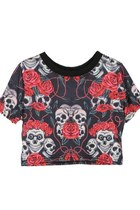 Cropped T-shirt with Skull and Rose Print