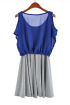Twin Set Dress with Chiffon Semi-sheer Cold Shoulder Top