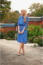 Blue Chiffon Split Shirt Dress with 3/4 Length Sleeves
