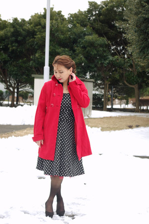 black thrifted vintage dress - ruby red H&M coat - black Ichioku top