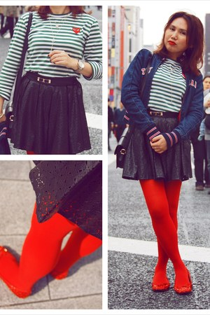 green Comme des Garcon shirt - black Tommy Hilfiger jacket - red Tutuanna tights