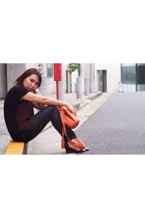 brick red Zara shirt - black Zara pants
