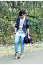 vintage jacket - NY leggings - Colon st top - Parisian wedges