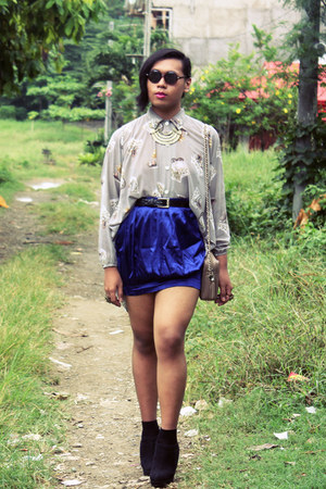 July skirt - vintage shirt - vintage bag - Forever 21 wedges