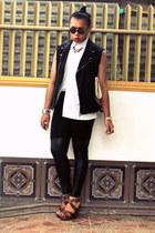 Rated R vest - Monki leggings - Parisian bag - Rusty Lopez wedges